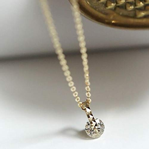 Bluesteer Collar de Gota de Agua geométrica de Plata de Ley 925, Cadena de clavícula Simple para Mujer, Colgante de Temperamento, joyería, circonita Brillante, Oro Rosa, 40 cm