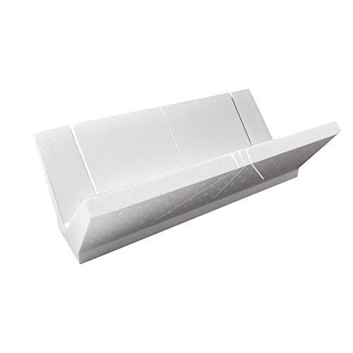DECOSA Gehrungslade EPS - 41 x 22,4 x 12 cm - Schneidlade in Weiß - Winkelschneider aus Styropor