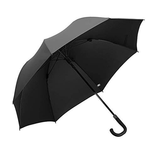 Giow Regenschirm, großer, langstieliger Business-Regenschirm Einfarbiger, doppelter, winddichter Regenschirm Golfschirm, DREI Farben optional (Farbe: schwarz)