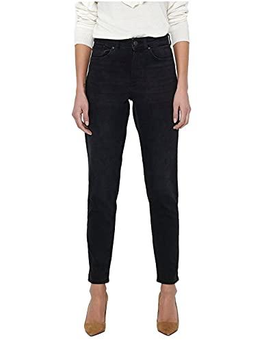 Only Onlveneda Life Mom Jeans Rea099 Noos, Black Denim, M/30 De Las Mujeres
