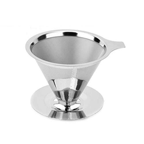 Yiyu Edelstahl Pour Over Kaffeekegel Mit Tassenständer – Papierlos Und Wiederverwendbar – Ultrafeiner Mikro-Netzfilter [1–4 Tassen] x (Color : S)