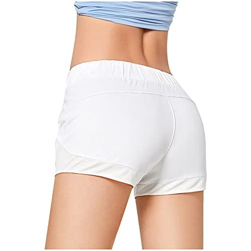Pantalones Cortos De Yoga De Color SóLido para Mujer,Antalones De Yoga para Correr De Alta Elasticidad,...