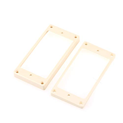 Musiclily Pro Plastic Curved Bottom Humbucker Mounting Pickup Rings Set for China Made Epiphone Guitar, Cream