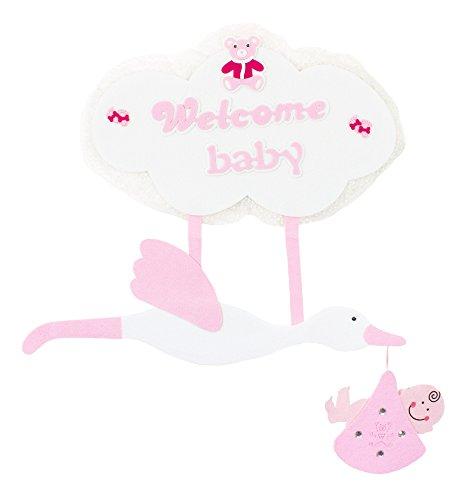 Das Kostümland Baby Shower Party Dekoration - XL Wandbild Storch 80 x 70 cm - Rosa - Wanddeko Geschenk zur Geburt Mädchen