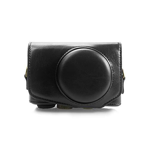 Canon SX740 Hülle, Kinokoo PU Leder Kameratasche mit Riemen für Canon PowerShot SX720 HS SX730 HS & SX740 HS(schwarz)