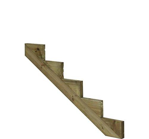Treppenwange für 5 Stufen Plus Massivholz druckimprägniert 1 Stück