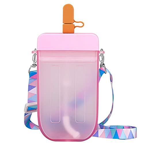 YueWan Botella de agua linda a prueba de fugas de plástico Popsicle Cup con cordón para beber taza para adultos niños