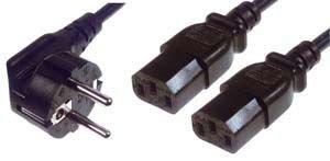 GR-Kabel BC-215 - Stromkabel (1,8 m, Male Connector/Female Connector, CEE7/4, 2 x C13-Koppler, Schwarz)