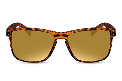 Cheapass Gafas de Sol estilosas Marrón Estampadas Montura lentes doradas Espejadas protección UV400