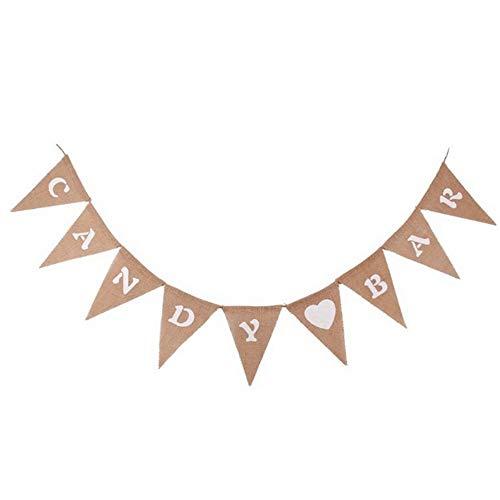yyuezhi Candy Bar 9 Piezas Arpillera Triángulo Candy Bar Banner Retro Candy Wreath Banderín Collar para la Boda de los Niños de la Fiesta de Cumpleaños Decoración Foto apoyos