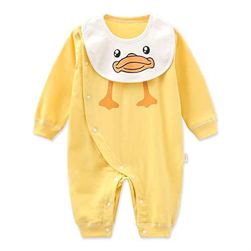 FURONGWANG6777BB Baby Boys Girl Paty Pattern Impresión de Romper ModySuit Mono recién Nacido con un Conjunto de Baberos extraíbles (Color : Yellow, Size : 59CM)