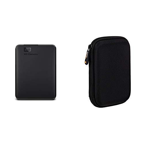 WD Elements Portable, Externe Festplatte - 3 TB - USB 3.0 - WDBU6Y0030BBK-WESN & Amazon Basics Schutzhülle für Externe Festplatten