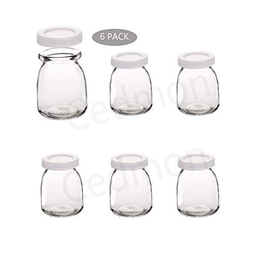 Cedmon Joghurtgläser Puddingglas mit Deckel (200 ml) 1 Set (6 Gläser) Ersatzgläser für Joghurtmacher
