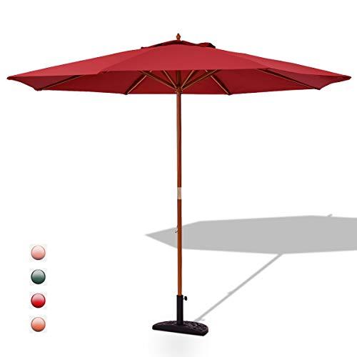 GOPLUS Sonnenschirm Balkonschirm Gartenschirm Marktschirm Terrassenschirm Ampelschirm Strandschirm Kurbelsonnenschirm, Farbewahl, aus Polyesterfaser und Holz, 270 cm (Rot)