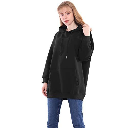 Long Robe Sweat Femme à Capuche Mode Casual Hiver Chic Coton Blanc Noir Pull Sweatshirt Hoodie Oversize (Noir, Small)