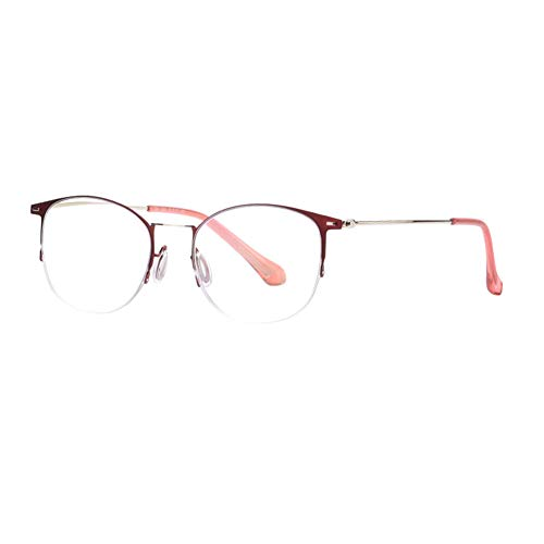 HQMGLASSES Gafas de Lectura de película de Resina Anti-Azul Anti-Azul de la Mujer, Lector de Marco Redondo Retro, Padres Diopter +1.0 a +3.0,Rojo,+1.0