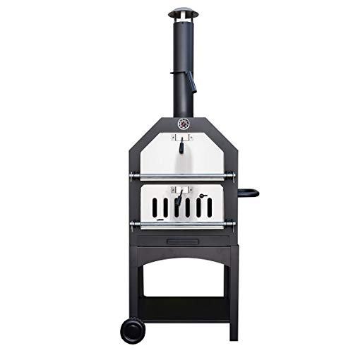 KCT Outdoor Wood Fired Pizza Oven with Stone, Temperature Gauge and Storage Shelf