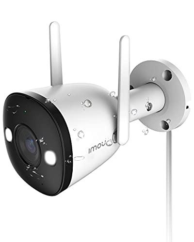 Cámara de vigilancia exterior 1080P con visión nocturna a color, cámara IP WiFi de 2,4 GHz con audio de dos vías, IP67, detección de personas, sirena y faros, compatible con Alexa (Bullet 2)