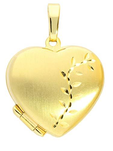 MyGold Medaillon Anhänger Gelbgold 375 Gold (9 Karat) Aufklappbar Für 2 Fotos 22mm x 16,5mm Herzform Herz Kettenanhänger Herzanhänger Family A-03968-G603
