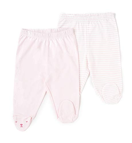 TEX - Pack 2 Leggings de Algodón para Bebé Niño y Niña, con Pies, Rosa, 0 a 1 Mes