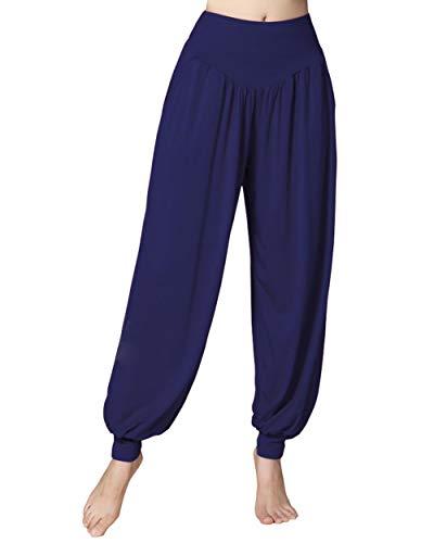 Doaraha Damen Yogahose Ballonhose Haremhose Hippie Pumphose Elegant Trainingshose Jogger Sporthose Pluderhose Freizeithose mit Bündchen für Freizeit und Sport, Navy Blau, XL