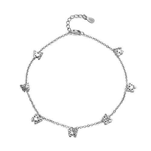 Schmetterling Fußkette für Frauen 925 Sterling Silber Charm Verstellbare Fußkette Kette Schmuck Geburtstagsgeschenke für Frauen (Weiß/Gelb erhältlich) (White)