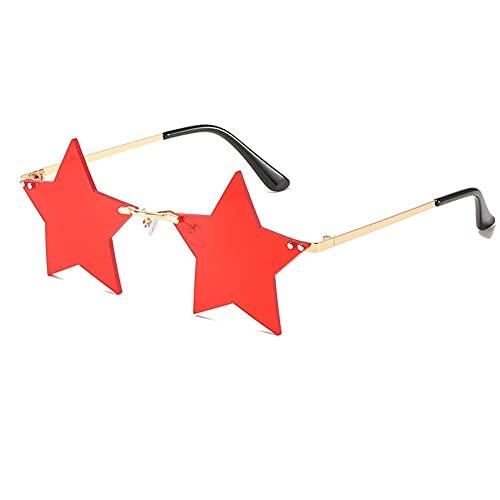 IRCATH Gafas de Sol con Forma de Estrella de Moda Mujeres sin Llantas de Sol de aleación Marco de aleación Lentes de Las Damas Océano Vidrios adecuados para Golf, Ciclismo, Gafas de Sol de Pesca-C5