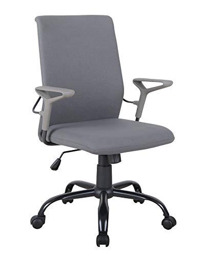 SixBros. Bürostuhl,Schreibtischstuhl zum Drehen, Drehstuhl für's Büro oder Home-Office, stufenlos höhenverstellbar, Chefsessel aus Stoff, grau 1211M/8064
