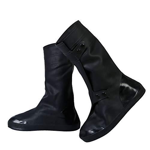 YMTECH Regenüberschuhe Wasserdicht Schuhe Überschuhe, Outdoor Rutschfester Schuhüberzieher Fahrrad Regenschutz Regenschuhe (Schwarz, 44-45 EU)