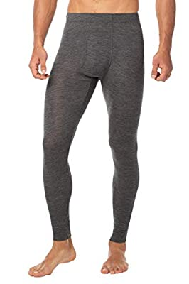 "LAPASA Men's 100% Merino Wool Thermal Underwear Pants Long John Leggings Base Layer Bottom M30 (L Waist 36""-38"" Length 39"", Dark Grey.)"