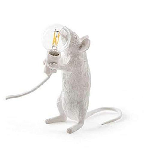 Pumprout Lámpara de Mesa posmoderna para la decoración del hogar Lindas Luces LED con diseño de Animales y Mini ratón en Resina Ideal para Escritorio o Noche - Blanco EU