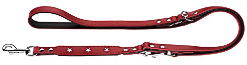HUNTER Magic Star Verstellbare Hundeführleine, Leder, rot/schwarz, 1,8 x 200 cm