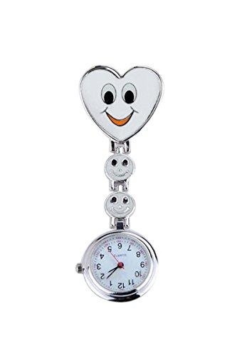 Reloj - SODIAL(R)reloj de bolsillo de enfermera de patron de corazon y cara con sonrisa un buen regalo para muchacha blanco