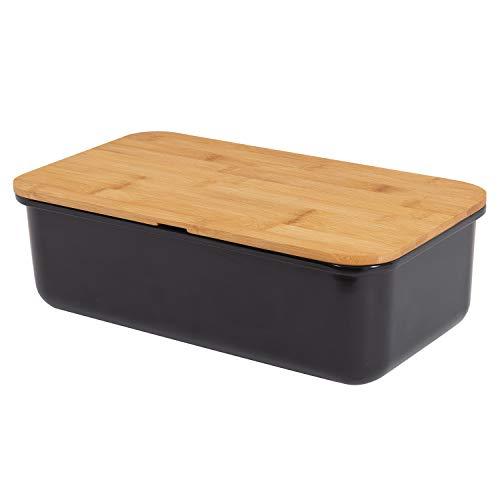 Mack - Ampio portapane Box in melamina | Contenitore per Il Pane con Pratico Coperchio in bambù Come Tagliere in Nero