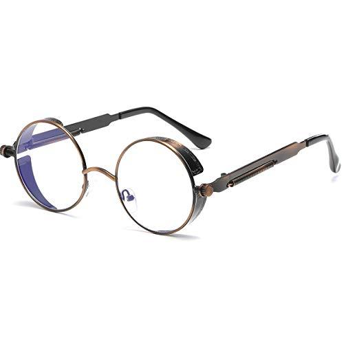 Dollger Gafas de sol retro Steampunk UV400, protección de metal, circular, marco, Transparente Linse / Bronze Rahmen, Geeignet für alle Gesichtsformen