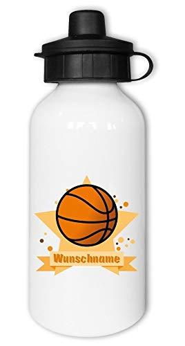 Samunshi® Kinder-Trinkflasche mit Basketball und Namen als Motiv für Schule Sport Freizeit personalisierbar Basketball