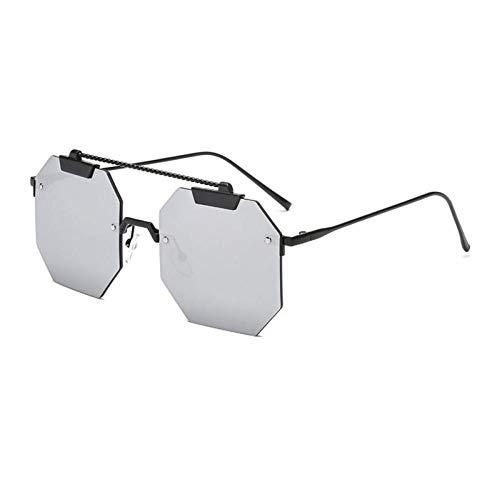 ZZOW Ins Populares Gafas De Sol Cuadradas Sin Montura para Mujer, Diseñador De Marca, Lentes Transparentes para El Océano, Gafas De Sol para Mujer, Gafas para Hombre, Uv400