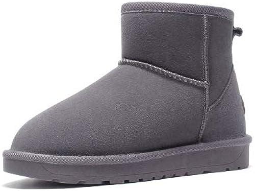 SWEAAY bottes Bottes De Neige en en Cuir pour Hommes Daim Doubleure en Peluche Artificielle Bottes De Grande Taille Chaussures d'hiver en Coton Antidérapantes