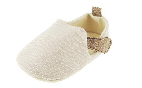 Glamour Girlz Sandalias de bebé para niños Smart Melange moteadas sin cordones en los zapatos de cochecito, beige (12 3-6 meses)