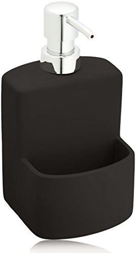 Wenko 3620117100, Dispensador de Detergente 0.38 L, Cerámica Soft-Touch, 10x10x18 cm, Negro