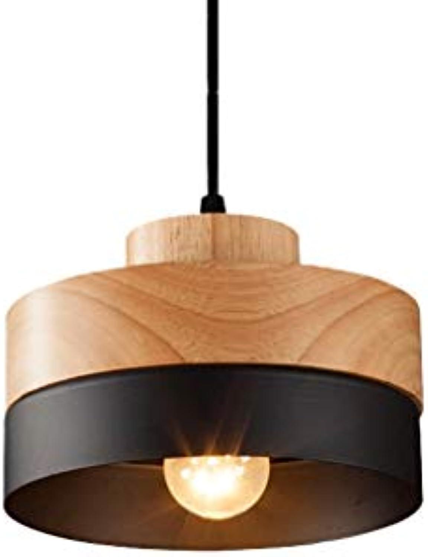 Tao-Miy Einfacher und frischer moderner Modehauslebenleuchter, einzelner Kopfleuchter des festen Holzes, verwendbar für Küche, Esszimmer, Schlafzimmerverein-Beleuchtungsdekoration (Farbe   Schwarz)