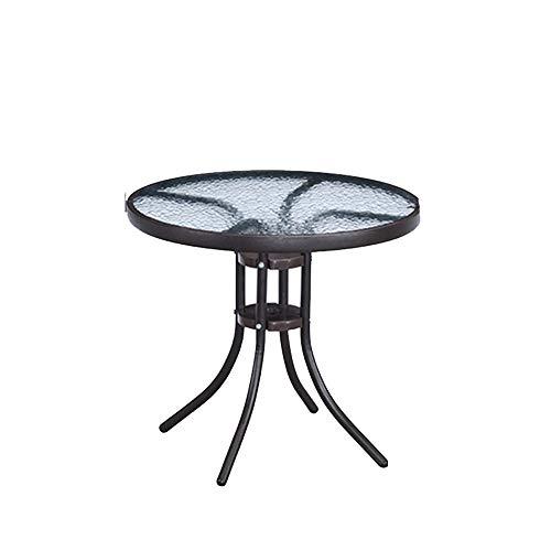 Klapptisch Tägliche Notwendigkeiten Terrasse Garten Freizeit runden Tisch Tisch aus gehärtetem Glas Haushalt kleinen Tisch Essecke (Size : B)