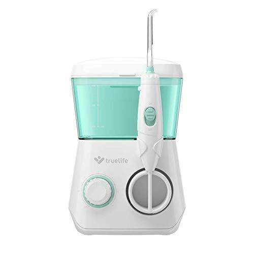 TrueLife AquaFloss Station Munddusche für eine perfekte Zahnhygiene, 10 Druckstärken zur Beseitigung von Zahnbelag, 600 ml Behälter für normales Wasser oder Mundwasser, 2 Düsen in der Packung
