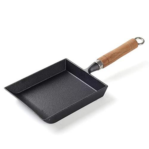 LGYKUMEG MINIROLL Sartén De Hierro Frito Huevo Cocina Molde Cuadrado De Hierro Fundido Sartén Mango De Madera Rectangular,Negro
