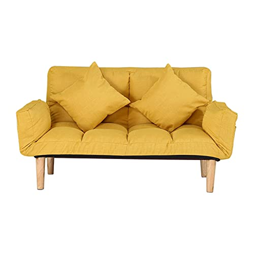 YaoyaoK Small Modern Couch, Folding Relax Lounge Sofa Bed Sleeper with 2 Pillows, Futon Sofa Bed, 2-Seat Sofa Couch Tufted Love Seat with Foldable Armrests for Living Room, Bedroom (Yellow)