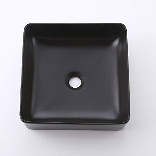 KES Bathroom Vessel Sink 14 Inch Above Counter Square Ceramic Countertop Sink for Cabinet Lavatory Vanity Black, BVS122-BK