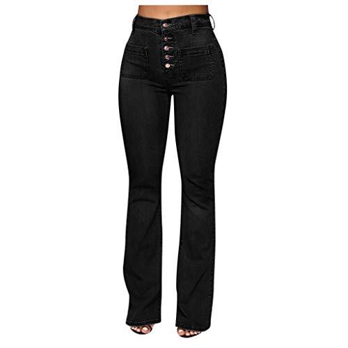 Toamen Mujer Vaqueros Pantalones Acampanados Talle Bajo Slim Fit Denim Pantalones Largos Color Sólido...