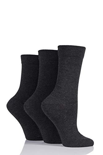 SockShop Damen 3 Paar Bambussocken mit Komfortbündchen - Grau