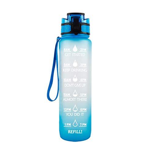 YINTE Botella De Agua Motivacional De 1000ml, Contenedor De Almacenamiento De Agua con Una Marca De Tiempo De Incentivo, Mango Helado Taza De Espacio De Agua a Prueba De F