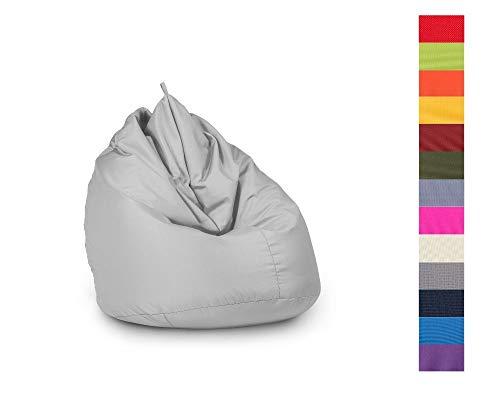 haus & garten Sitzsack Indoor/Outdoor, für Kinder und Erwachsene, viele Farben und Größen zum Auswahl (85x125, Silber)